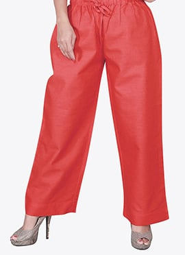 Coral Red Cotton Palazzo Pant