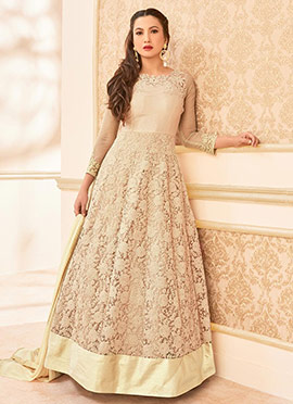 Cream Ankle Length Anarkali suit