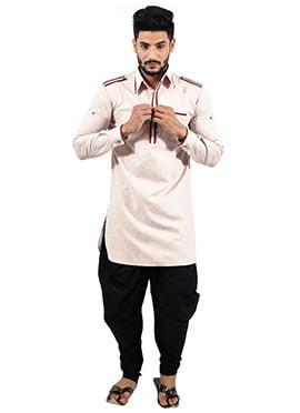 Pale Pink Art Silk Pathani Suit