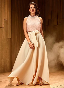 Cream Asymmetrical Indowestern Skirt Set