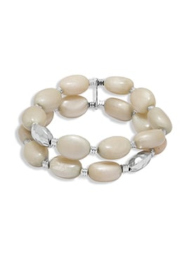 Cream Bead Ball Patterned Bracelet