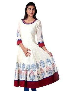 Cream Cotton Printed Anarkali Kurti