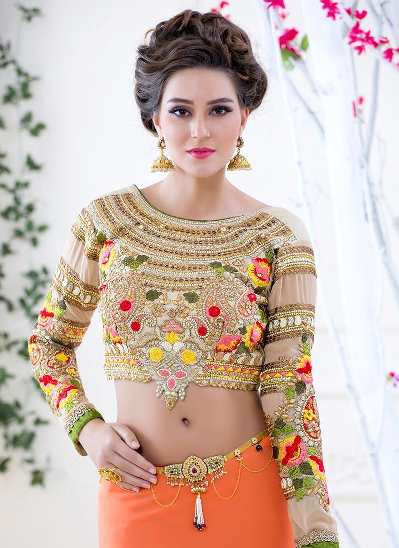 Buy Cream Embroidered Art Silk Blouse Blouse Online Shopping BLSHTX145