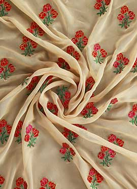 Cream Embroidered Georgette Fabric
