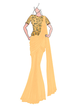 Cream Georgette Drape Saree with Gold Embroidered