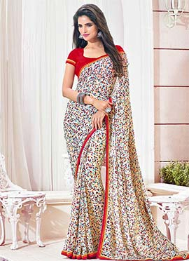 Cream Georgette Geometric Printed Saree