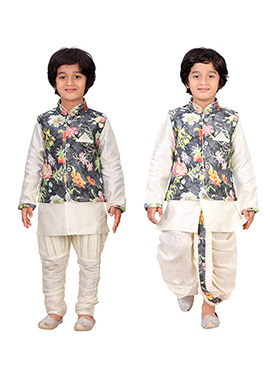 Cream N Dark Grey Kids Dhoti Kurta N Bandi Set Com
