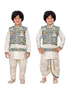Cream N Grey Kids Dhoti Kurta N Bandi Set Combo