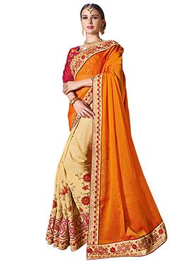 Cream N Orange Half N Half Saree