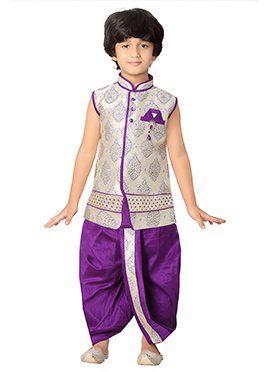 Cream N Purple Kids Dhoti Kurta