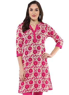 Cream N pink Blended Cotton Short Kurti