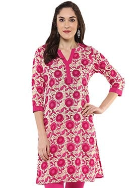 Cream N Red Blended Cotton Short Kurti