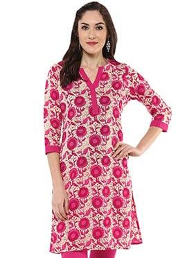 Cream N pink Blended Cotton Short Kurti