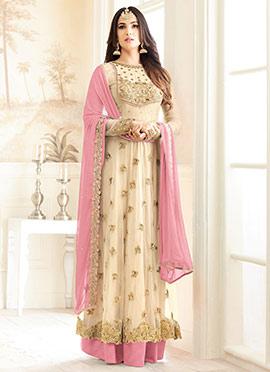 Cream Net Abaya Style Anarkali Suit