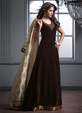 Cream n Brown Jacket Style Anarkali Suit