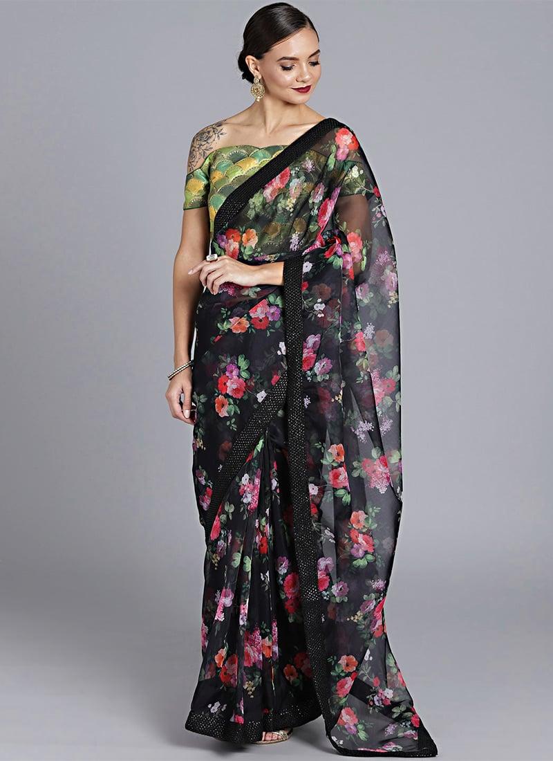 b0fe4c37d0 Buy Custom Made Black Digital Printed Organza Saree, Party, sari ...