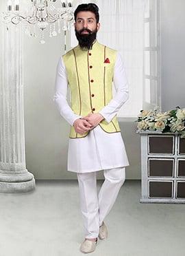 Dark Cream Linen Nehru Jacket