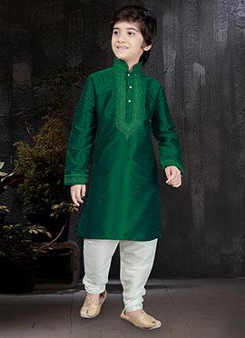 Dark Green Art Dupion Silk Kids Kurta Pyjama