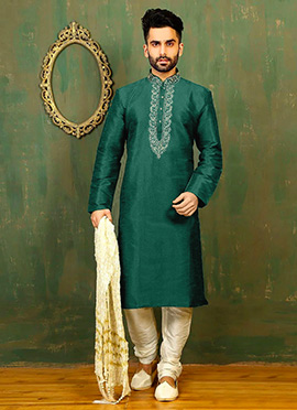 Dark Green Art Dupion Silk Kurta Pyjama