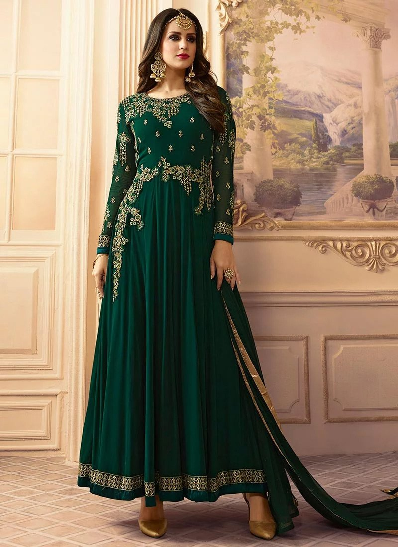 4fb81de7ec Buy Dark Green Georgette Abaya Style Anarkali Suit, Zari , Stones ...