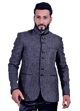 Dark Grey Jute Silk Bandhgala Jacket