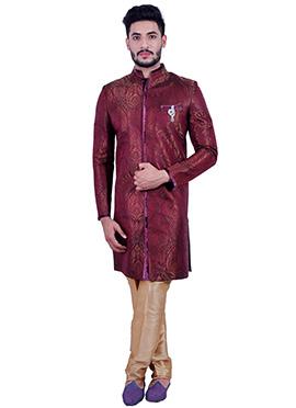 Dark Maroon Silk Brocade Sherwani