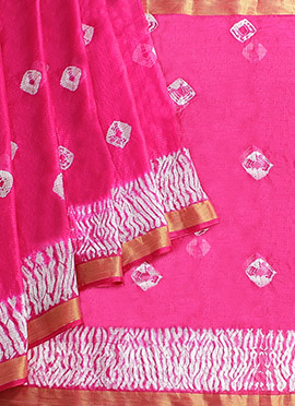 Dark Pink Art Silk Saree