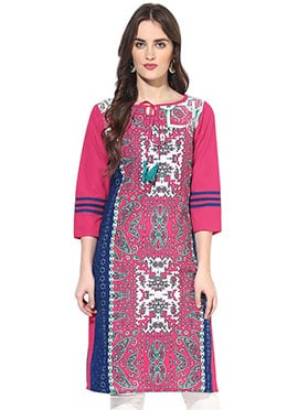 Dark Pink N Off White Cotton Printed Short Kurti