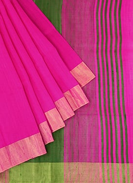Dark Pink Pure Raw Silk Saree
