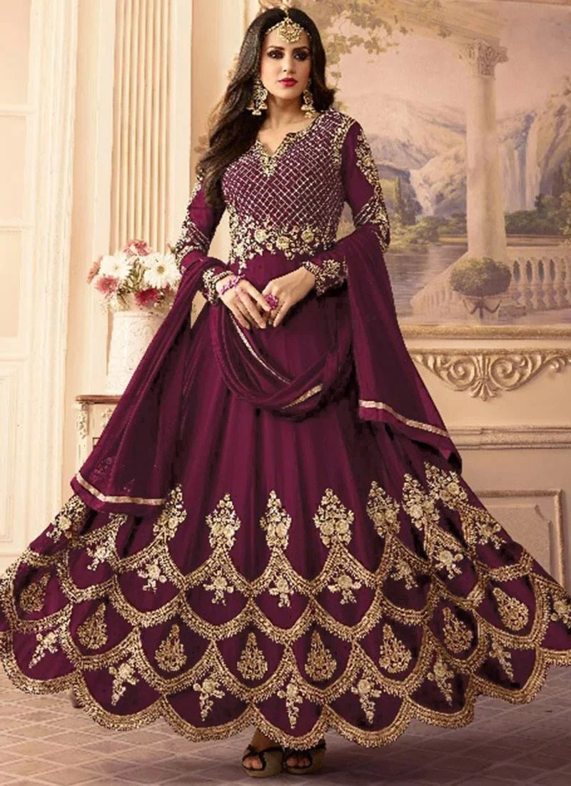 Buy Dark Purple Embroidered Abaya Style Anarkali Suit