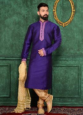 Dark Violet Art Benarasi Silk Kurta Pyjama