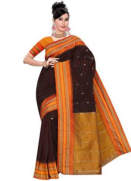 Brown Pure Kancheepuram Silk Saree