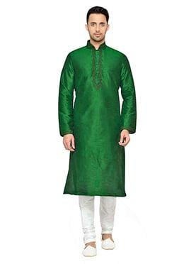 Deep Green Art Dupion Silk Kurta Pyjama