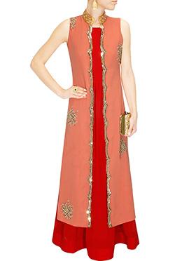 Deep Orange N Red Georgette Maxi Dress