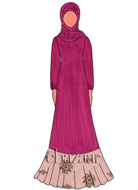 Deep Pink Georgette Abaya