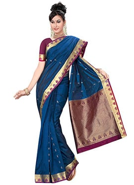 Denim Blue Pure Kancheepuram Silk Saree