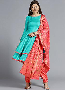 Double Layered Peplum Flare Anarkali Suit