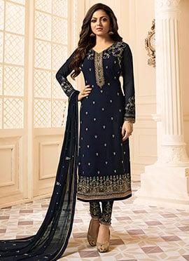 Drashti Dhami Blue Embroidered Straight Pant Suit
