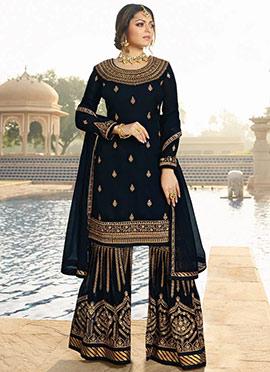 Drashti Dhami Navy Blue Embroidered Sharara Suit
