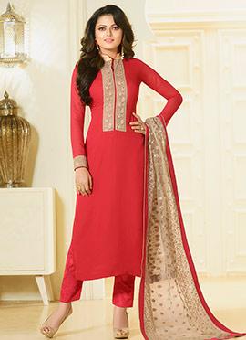 Drashti Dhami Red Straight Pant Suit