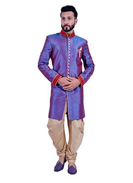 Dual Tone Dupion Silk Sherwani