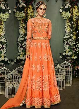 Embellished Embroidered Orange Anarkali Gown