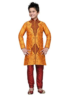Embroidered Orange Art Silk Boys Kurta Pyjama