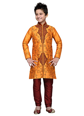 Embroidered Orange Art Silk Teens Kurta Pyjama