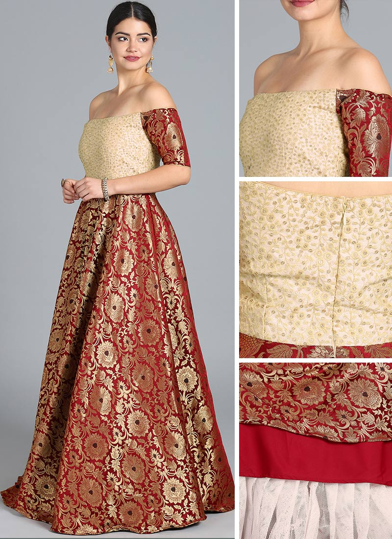 Shop Ethnovogue Custom Made Off Shoulder Maroon Gown Ready To Wear Dresses For Women Iwbs01812200rtw