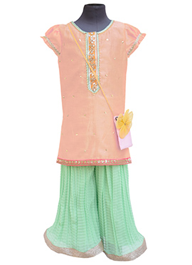 Fayon Light Pink Blended Cotton Kids Salwar Kameez