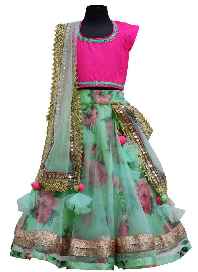 Buy Fayon Sage Green Net Kids Lehenga Choli Printed