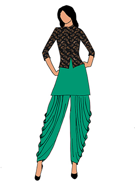 Fern Green Crepe Dhoti Set