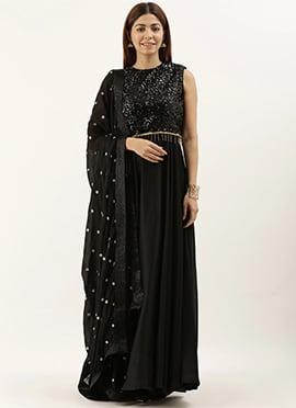 Floor Length Black Anarkali suit