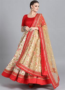Floor Length Red Modal Satin Embroidered Anarkali